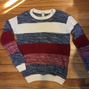 Forever 21 Red Blue Cream Sweater